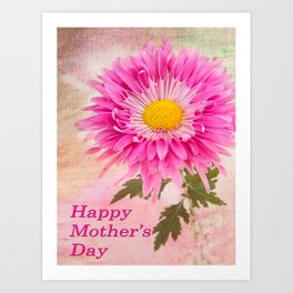 Hot Pink Daisy Mother's Day Card Art Print