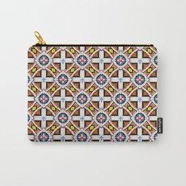 Wooden Criss-Cross Screen Pattern Carry-All Pouch