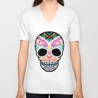 mexican V-neck T-shirts featuring Mexican Skull by Blank & Vøid