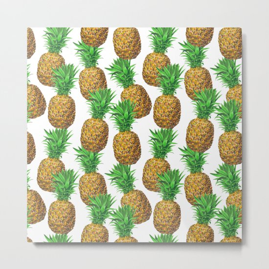 Seamless pattern with pineapples Metal Print