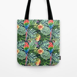 Colorful diverse tropical seamless pattern of watercolor from leaves, fruits, flowers and birds Tote Bag