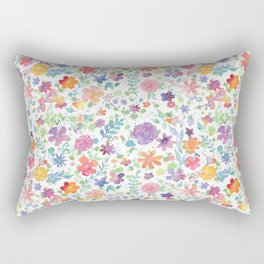 Colorful Whimsical Watercolor Flowers Pattern Rectangular Pillow
