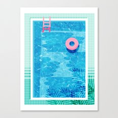 Chillin' - poolside palm springs vacation resort tropical swim swimming retro neon throwback 1980s Canvas Print