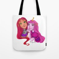 princess bubblegum Tote Bags featuring Starfire and Princess Bubblegum by Angie Nasca