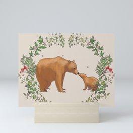 Bears in Forest Wreath Mini Art Print