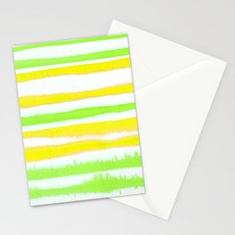 Lemon Lime Watercolor Stripes Stationery Cards