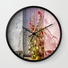 Hollyhock - Ile de Ré France Wall Clock