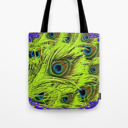 PURPLE ART NOUVEAU GREEN PEACOCK FEATHERS ABSTRACT ART Tote Bag