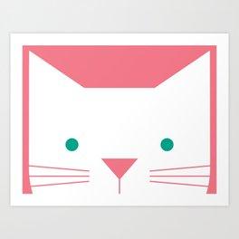 Peek-a-Boo Cat, Pink and Green Art Print