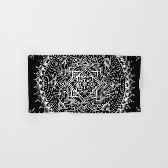 White Flower Mandala on Black Hand & Bath Towel