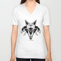 sphynx V-neck T-shirts featuring Sphynx by kitsunebis