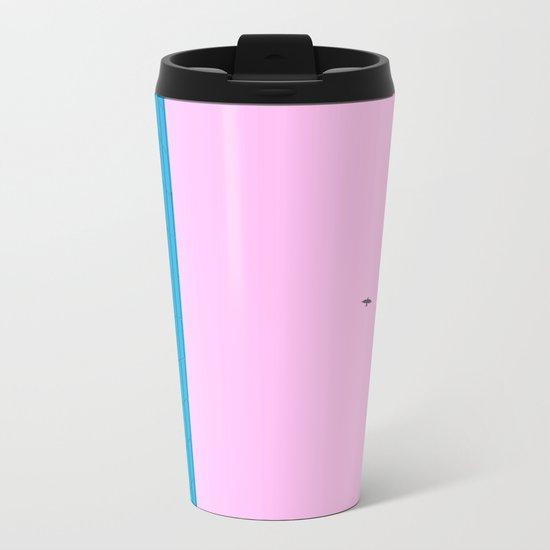 pink and blue Metal Travel Mug