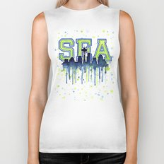 Seattle 12th Man Art Watercolor Space Needle Painting Biker Tank