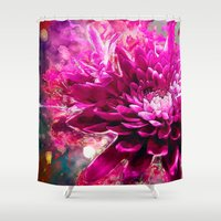 dahlia Shower Curtains featuring Dahlia by Ville Munter