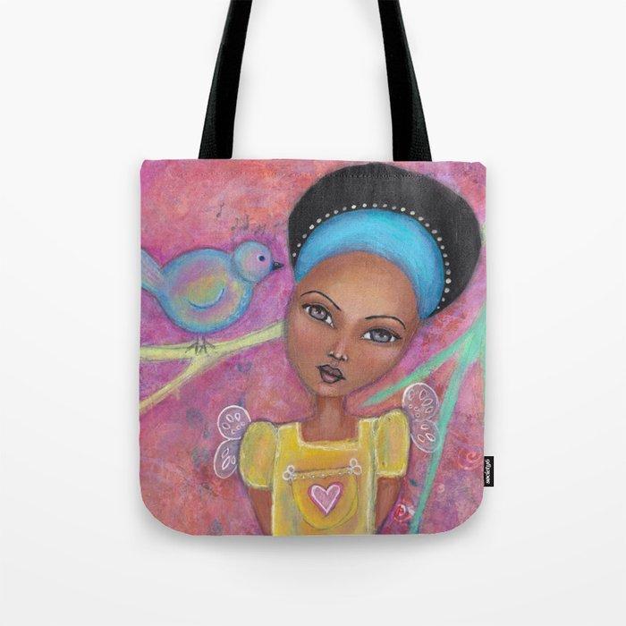 Sweet Girl With Her Pet Bird Tote Bag