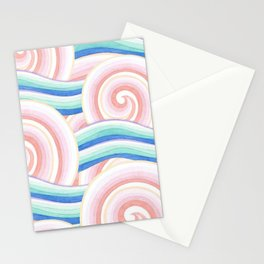 Pastel Auspicious Waves Stationery Cards