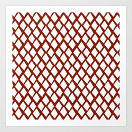Rhombus White And Red Art Print