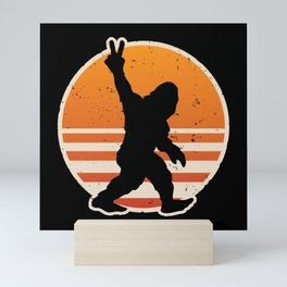Retro Bigfoot Peace Sign Mini Art Print