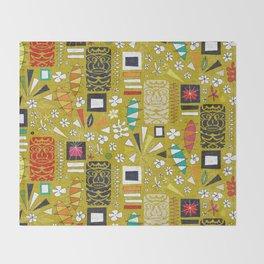 tiki yellow Throw Blanket