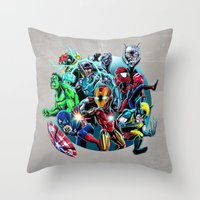 super heroes Throw Pillows featuring Super Heroes by Carrillo Art Studio