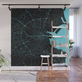Dublin Ireland Black on Turquoise Street Map Wall Mural