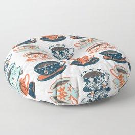 Tea Time – Coral & Teal Floor Pillow