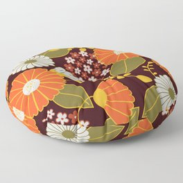 Maroon, Orange, Yellow and Red Retro Flowers Floor Pillow