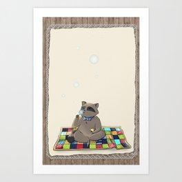 Raccoon Bubbles Art Print