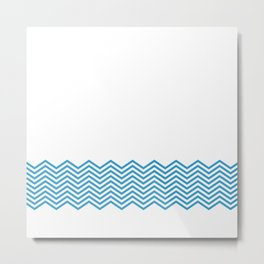 Blue Chevron Metal Print