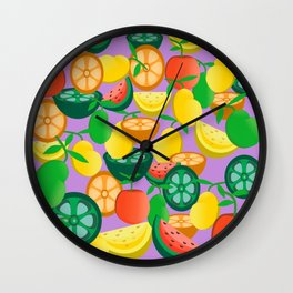 Tropical fruit drawing pattern Wall Clock