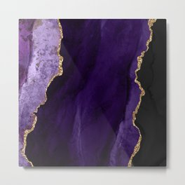 Watercolor Agate in Purple, Aubergine, Lavender Metal Print