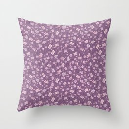 Pink sakura branches with on purple background Throw Pillow
