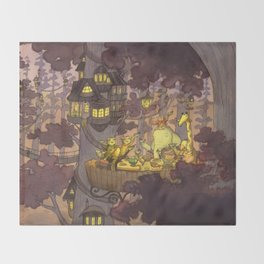 Treehouse Dinner With Animal Friends Throw Blanket