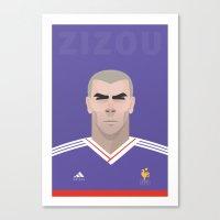 zidane Canvas Prints featuring Zizou Zidane by Al Power
