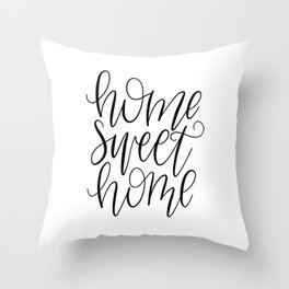 Home Sweet Home, Handlettered, Black and White, Farmhouse Throw Pillow