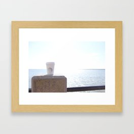 Seaside Coffee Therapy Framed Art Print
