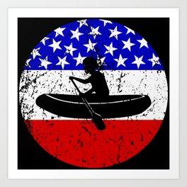 American Flag White Water Rafting Art Print