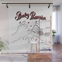 Pinky promise with love hearts best friend friendship gift pinky swear hands fingers friends forever Wall Mural