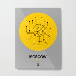 Moscow Yellow Subway Map Metal Print