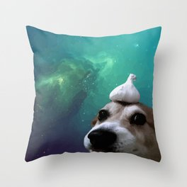 Dog, Garlic & Space Throw Pillow