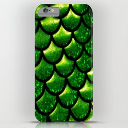 Mermaid Scales - Emerald Green and Black iPhone Case