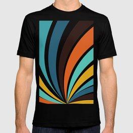 Funky Geometric Bright Yellow Orange Brown Teal Blue Colorful 70s retro stripes T-shirt