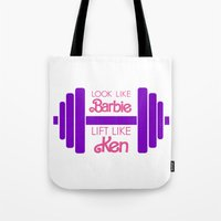 barbie Tote Bags featuring Barbie by Free Specie