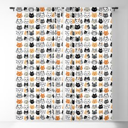 Cute Cats | Assorted Kitty Cat Faces | Fun Feline Drawings Blackout Curtain