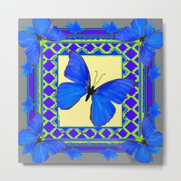 Decorative Sapphire Blue Butterflies Abstract & Yellow Metal Print