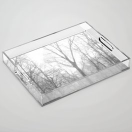 Black and White Forest Illustration Acrylic Tray