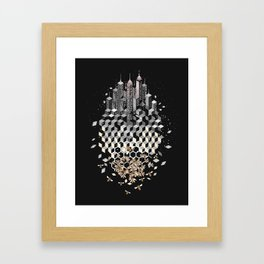 Bees and the city Framed Art Print