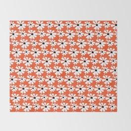 Daisies In The Summer Breeze - Orange White Black Throw Blanket