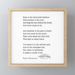 Emily Dickinson Hope is the thing with feathers  Framed Mini Art Print