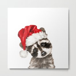Christmas Baby Raccoon Metal Print